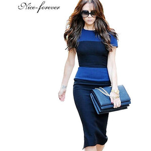 Nice-forever new Women's summer knee-length Vintage European Style Back Zipper Stripe Splicing Pencil Bodycon party Dresses 463 - Shopatronics