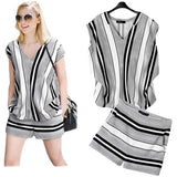 Plus Size XL- 5XL Two Piece Set Women Summer Sets Short Sleeve Striped Blouse And Side Zipper European Style Ladies Suit - Shopatronics