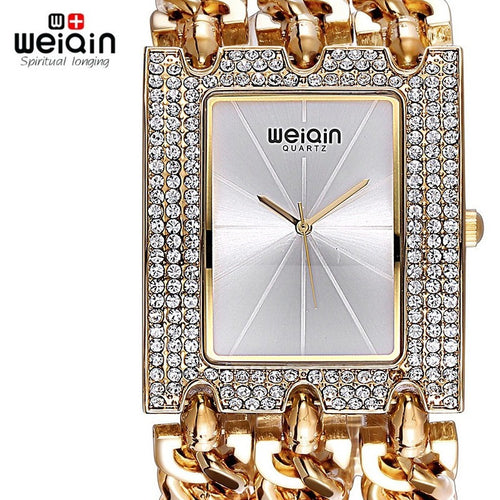 WEIQIN Luxury Crystal Diamond Gold Bracelet Watches Women Ladies Fashion Bangle Dress Watch Woman Clock Hour Relogio Feminino - Shopatronics