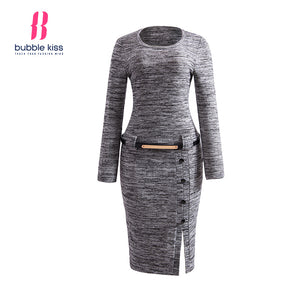 Pullover Dress Woman Knitwear Winter Long Sleeve O Neck Slit Belt Button Casual Bodycon Dress - Shopatronics