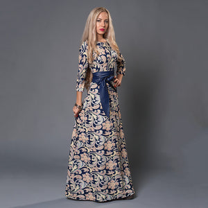 2017 Autumn Winter Russian Style Print Dresses Long Floor-Length Elegant - Shopatronics - One Stop Shop. Find the Best Selling Products Online Today