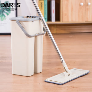 House Floor Cleaning Mop Bucket System Stainless Free Wringing Microfiber Mop Pads