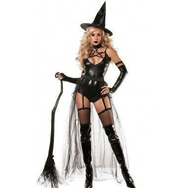 Free Shipping Hot Adult 4pcs Miss Witchcraft Costume Cosplay Deluxe Adult Magic Moment Costume Adult Witch Halloween Fancy Dress - Shopatronics