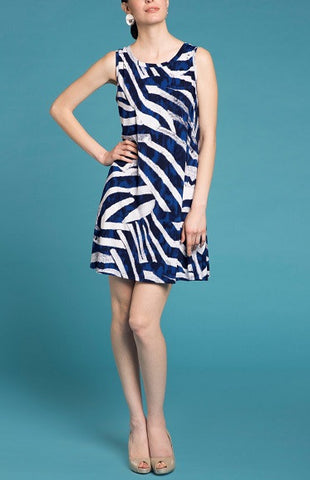 A-Line Dress Royal White Print