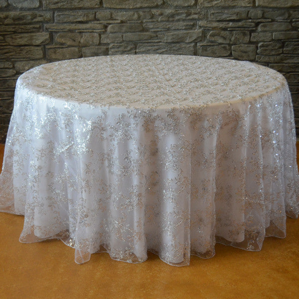 "120"" Round Sequins floral tablecloth - Wholesale Wedding Chair Covers l Wedding & Party Supplies"