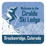 Personalized Drink Coaster Set, Ski Lodge