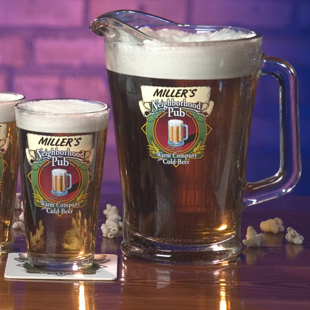 Personalized Beer Glasses and/or Pitcher - Neighborhood Pub