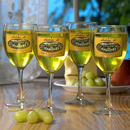 Personalized Wine Glasses and/or Carafe - Gold Chateau