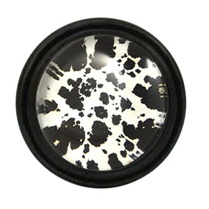 Vintage Iron Knob Black White Urban Cow Hide Pattern