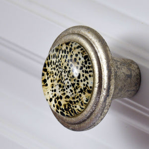 Brushed Silver Knob Art Deco Leopard Pattern Charleston Knob Company