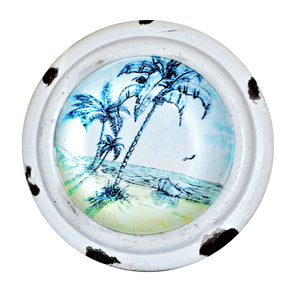 Retro Whitewashed Beach Scene Knob