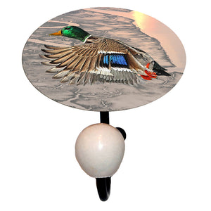 handy pewter and glass hook featuring flying mallard duck artwork