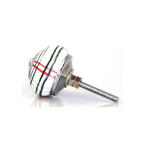 Ceramic Plaid Knob – White green and red