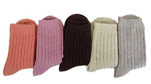 Lian LifeStyle Women's 5 Pairs Pack Wool Socks Plain Color With Stripes