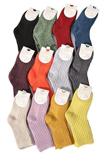 Lian LifeStyle Children's 10 Pairs Pack Cashmere Wool Socks Solid 4 Sizes