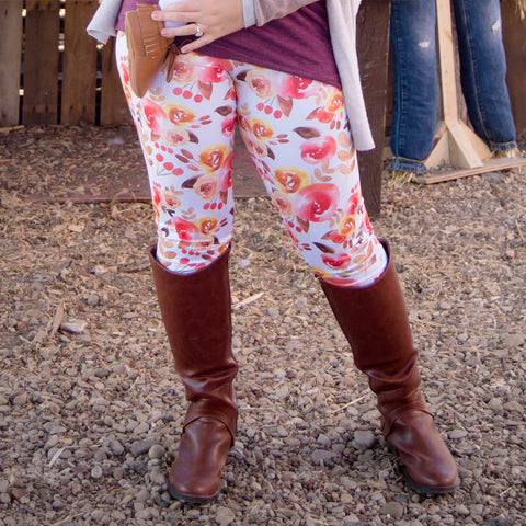 Fall Floral Womens leggings