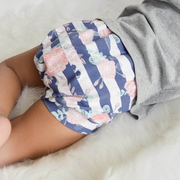 Navy Striped floral Bummies