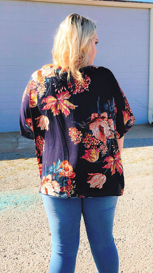 plus size dark blue tops