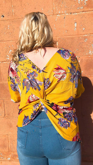 mustard floral reversible top for curvy girls