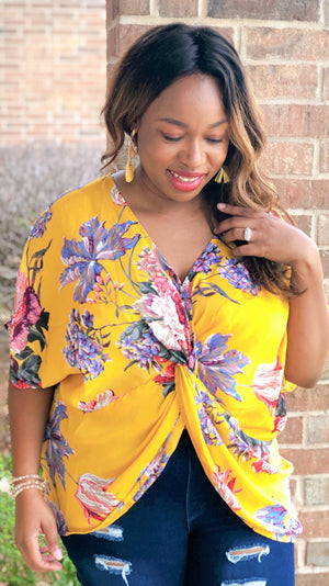 yellow boho floral v-neck top