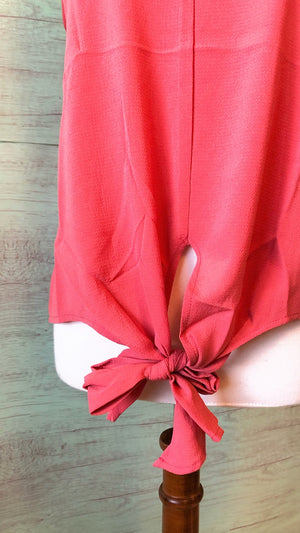 coral front tie cami for curvy girls
