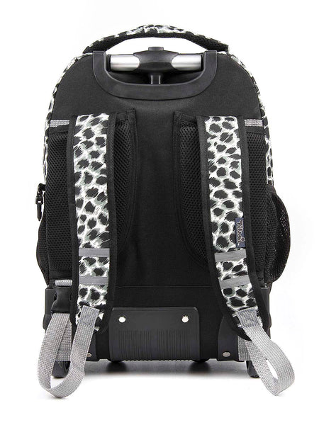 Tilami Rolling Backpack Armor Luggage School Travel Book Laptop 18 Inch Multifunction Wheeled Backpack Leopard white - Tilamibag
