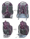 Tilami Boy 18 Inch Rolling Backpack Armor Luggage School Travel Book Laptop Multifunction Wheeled Backpack Bubble Purple - Tilamibag