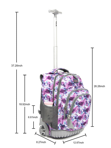 Tilami Girl 18 Inch Oversized load multi-compartment Wheeled Rolling Backpack Luggage for Kids (Daffodils) … - Tilamibag