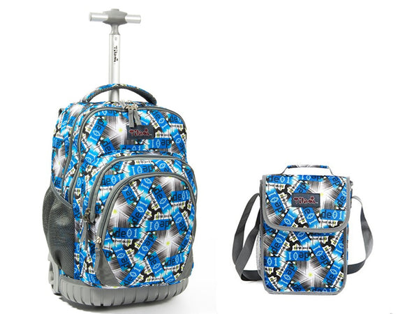 Tilami 18 Inch Boy Blue Multifunction Wheeled Rolling Backpack & Picnic Cooler Bag Set - Tilamibag