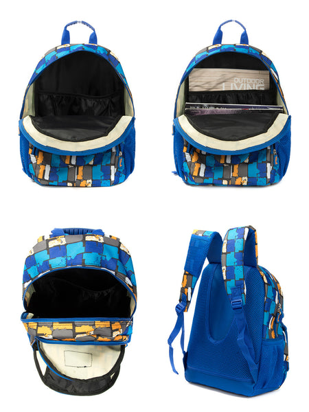 Tilami Backpack Laptop Bag 14 Inch School Bag Children Bookbags Laptop Bag,Blue  grid - Tilamibag