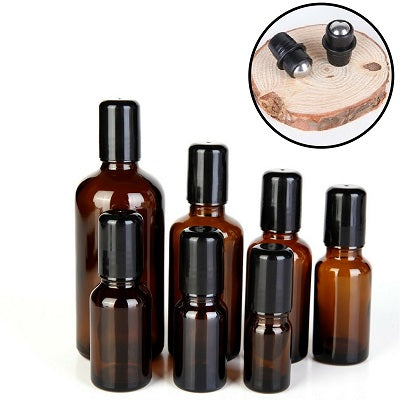 Amber Brown Refillable Roller Bottles | 5ml to 100ml Roller Bottles with Stainless Steel Ball