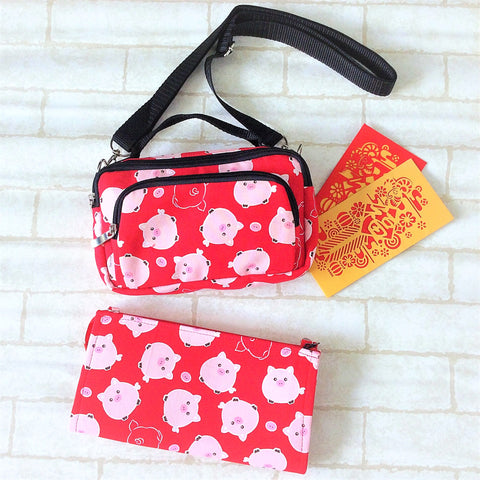 Piggy Sling Bag + Slim Red Packet Organiser Bundle Set | CNY Pouch | Chinese New Year Bag | Sling Bag and Red Packet Organiser Bundle 16B33