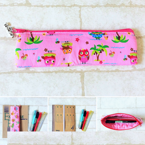 Pencil Pouch Book Band | Pencil Holder | Pink Owl Design 1