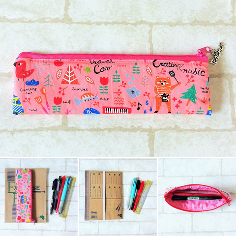 Pencil Pouch Book Band | Pencil Holder | Pink Animals Design