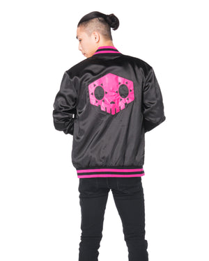 """HACKER"" varsity jacket male back"