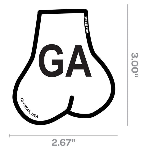 Balls Shaped State of Georgia Oval Sticker