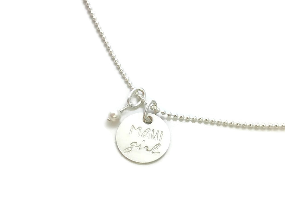 Maui Girl Small Round & Pearl Sterling Silver Necklace