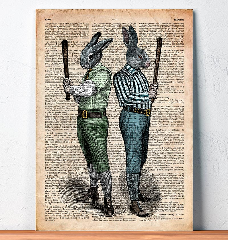 rabbits with bats on dictionary page animal poster