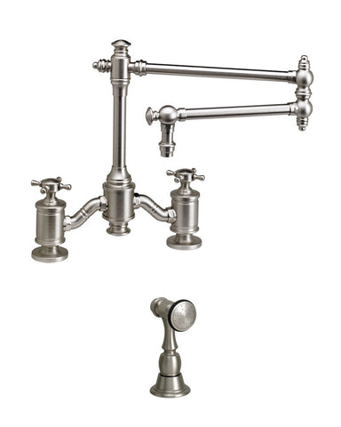 "TOWSON BRIDGE FAUCET - 18"" ARTICULATED SPOUT - CROSS HANDLES - w/ SIDE SPRAY TRADITIONAL"