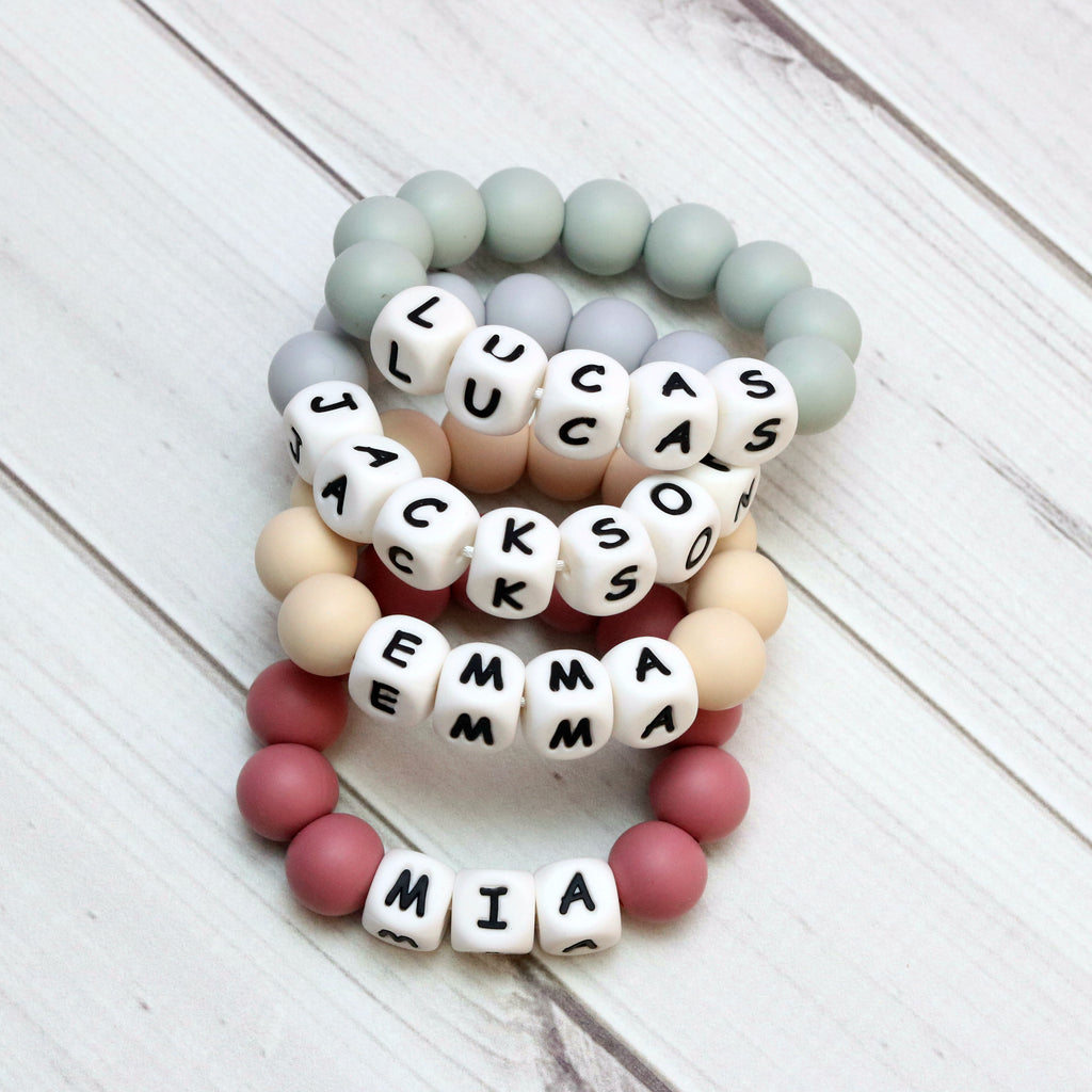 Personalized Silicone Teething Ring - $7.50 color of the week: SAPPHIRE - Getting Sew Crafty