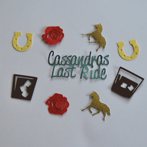 """Last Ride"" Derby Themed Bachelorette Confetti"