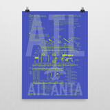 "RWY23 - ATL Atlanta Airport Diagram Poster - Aviation Art - Birthday Gift, Christmas Gift, Home and Office Decor - 18""x24"" Wall"