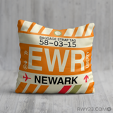 RWY23 - EWR Newark, New Jersey Airport Code Throw Pillow - Birthday Gift Christmas Gift