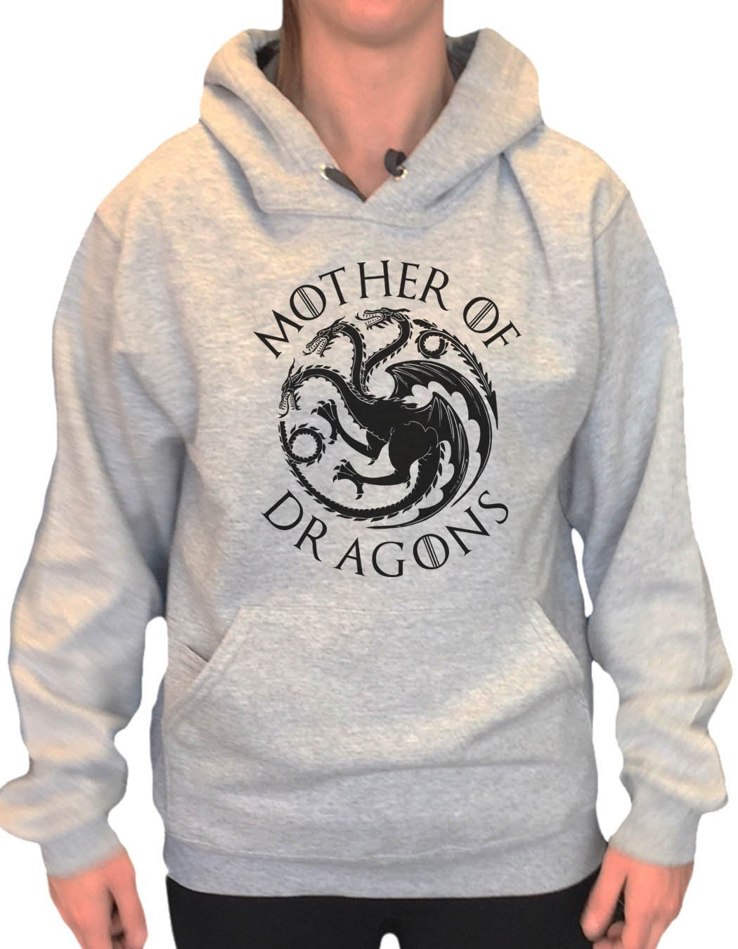 UNISEX HOODIE - Mother Of Dragons - FUNNY MENS AND WOMENS HOODED SWEATSHIRTS - BB15 Funny Shirt Small / Heather Grey