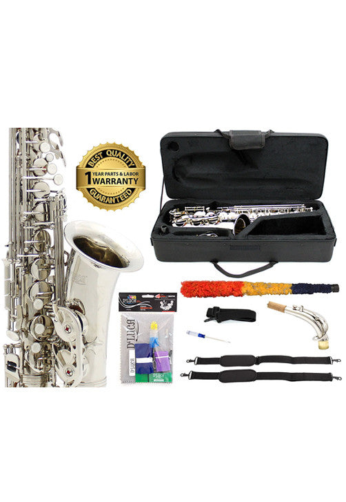 D'Luca 350 Series Nickel Plated Eb Alto Saxophone with F# key, Professional Case, Cleaning Kit and 1 Year Manufacturer Warranty