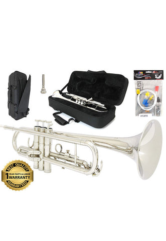 D'Luca 500 Series Silver Plated Standard Bb Trumpet with Professional Case, Cleaning Kit and 1 Year Manufacturer Warranty