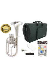 D'Luca 860 Series Nickel Plated Eb Alto Horn with Rose Brass Leadpipe, Professional Case, Cleaning Kit and 1 Year Manufacturer Warranty