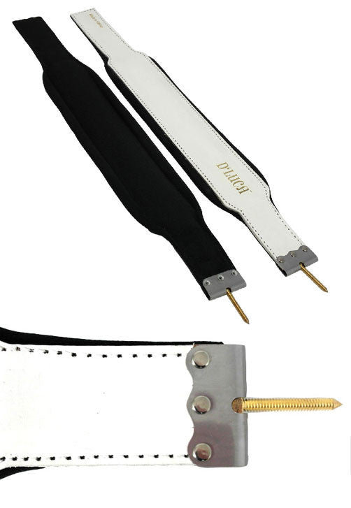 D'Luca Pro Series Genuine Leather Accordion Bass Straps 18.5 Inches White