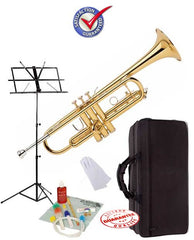 Student Gold Bb Trumpet School Package with Case, Music Stand and Cleaning Kit