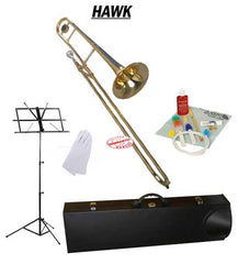 Hawk Gold Lacquer Slide Bb Trombone School Package with Case, Music Stand and Cleaning Kit
